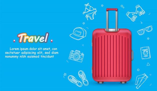 Bagaż i doodle akcesoria do rysowania dłoni podróżują po świecie.