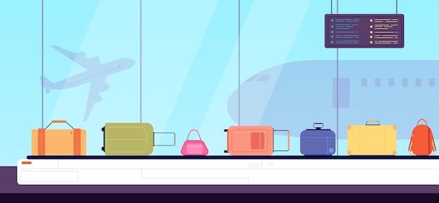 Bagaż na pasku. płaskie kolorowe walizki, transporter lotniskowy i bagaż wakacyjny. kreskówka worek sprawdzania w ilustracji wektorowych terminalu przylotów. walizka w przenośniku lotniskowym, pas na bagaż