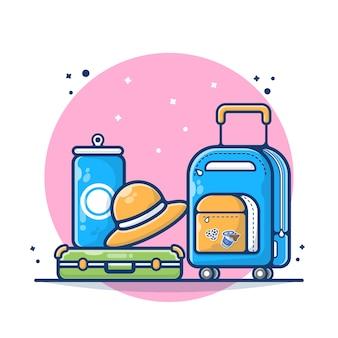 Bagaż z butelką, kapeluszem, walizką i ilustracją torby. koncepcja podróży torby i bagażu. płaski styl kreskówki