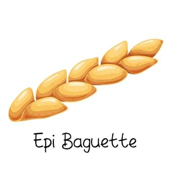 Bagietka epi, ikona chleb. francuski produkt piekarniczy ilustracja kolorowy.