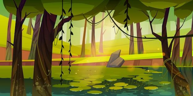 Bagno lub jezioro z liliami wodnymi w lesie, przyroda