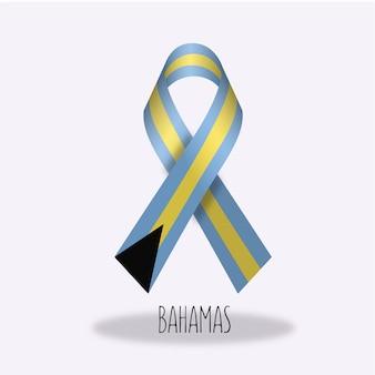 Bahamas flag ribbon design