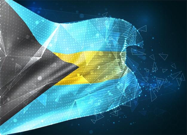 Bahamy, flaga wektorowa, wirtualny abstrakcyjny obiekt 3d z trójkątnych wielokątów na niebieskim tle