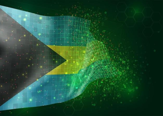 Bahamy, na wektor 3d flaga na zielonym tle z wielokątami i numerami danych