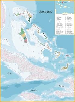 Bahamy podzielone są na dzielnice, które są pokolorowane różnymi jasnymi kolorami
