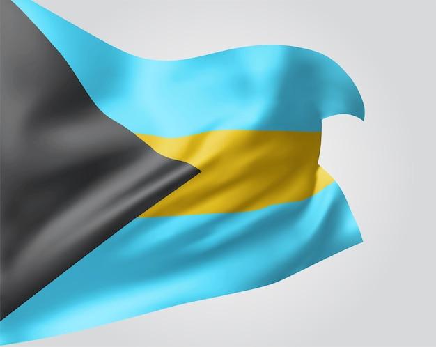 Bahamy, wektor flaga z falami i zakrętami macha na wietrze na białym tle.