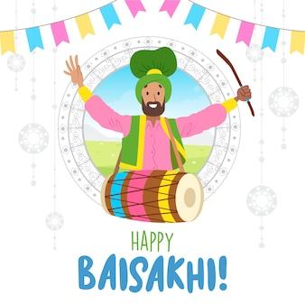 Baisakhi indyjski festiwal z mężczyzną grającym na perkusji