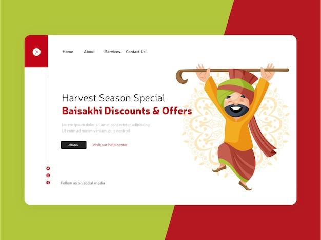 Baisakhi oferuje szablon strony docelowej happy sardar dance