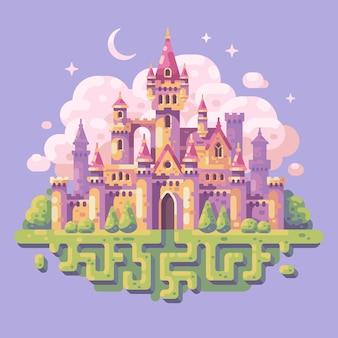 Bajka księżniczka zamek płaski ilustracja. tło krajobraz fantasy