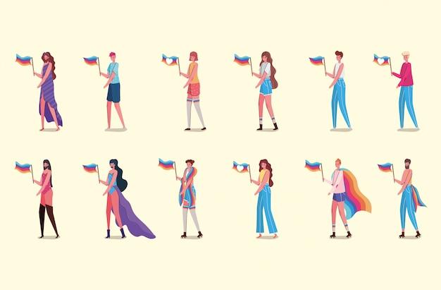 Bajki kobiet i mężczyzn z kostiumami i flagami lgtbi