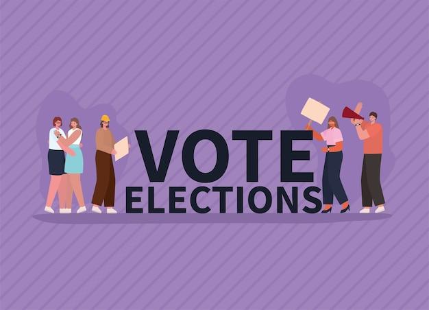 Bajki kobiet i mężczyzn z tabliczkami do głosowania i projektem megafonu, dzień wyborów