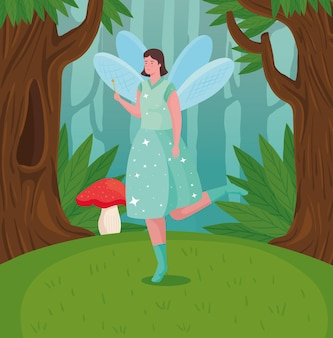 Bajkowa bajka kreskówka na ilustracji lasu