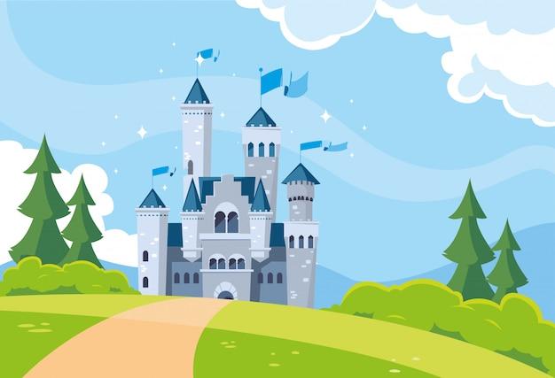 Bajkowa budynek zamku w górzystym krajobrazie