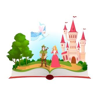 Bajkowa książka. postacie z bajek fantasy, biblioteka magicznego życia. otwórz książkę z zamkiem królestwa fantazji.
