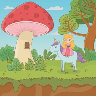 Bajkowa scena krajobrazowa z grzybem i księżniczką w jednorożcu