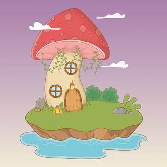 Bajkowa scena z grzybem