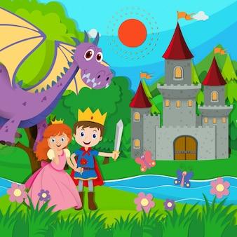 Bajkowa scena z księciem i księżniczką