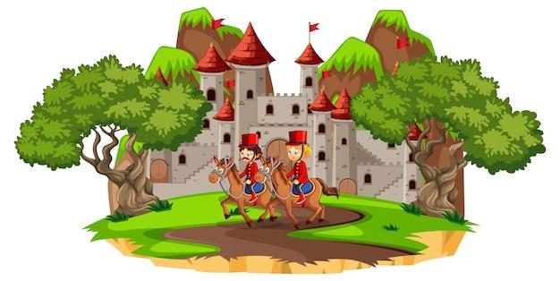 Bajkowa scena z zamkiem i żołnierzem gwardii królewskiej