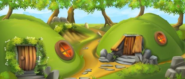 Bajkowa wioska. dom krasnoludków. ilustracja wektorowa krajobraz natura