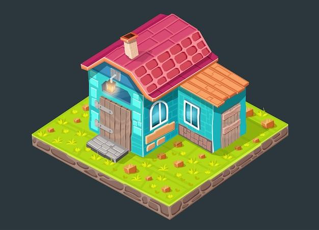 Bajkowa wioska. dom leprechaun. ilustracja krajobraz przyrody