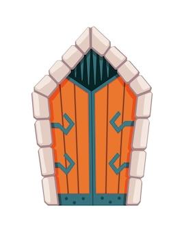 Bajkowe drzwi średniowieczne. element średniowiecznego zamku lub fortec. portal drewniany z kamiennym łukiem, zawiasy z kutego metalu. kreskówka brama na białym tle.