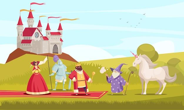 Bajkowe postacie z płaską ilustracją króla, królowej i rycerza