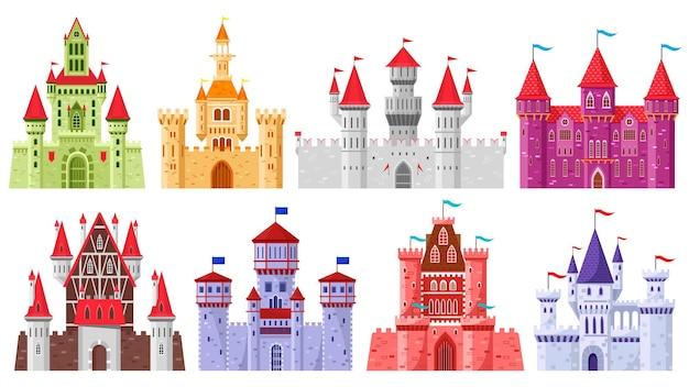 Bajkowe średniowieczne wieże. kreskówka królewskie wieże królestwa, stare starożytne magiczne zamki wektor zestaw