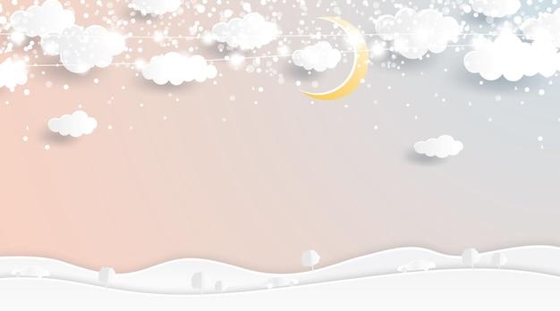 Bajkowe tło boże narodzenie w stylu cięcia papieru. zima z księżycem i chmurami. ilustracja wektorowa. wesołych świąt i szczęśliwego nowego roku.