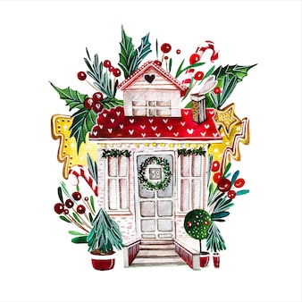 Bajkowy dom ręcznie rysowane akwarela ilustracja fantastyczna fasada chaty otoczona dekorowanymi drzewami noworocznymi na białym tle budynek z dekoracjami świątecznymi malowanie aquarelle