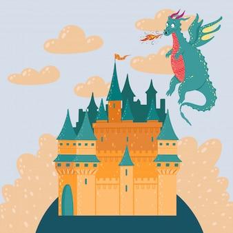 Bajkowy krajobraz z zamkiem i latającym smokiem. wieża pałacu fantazji.