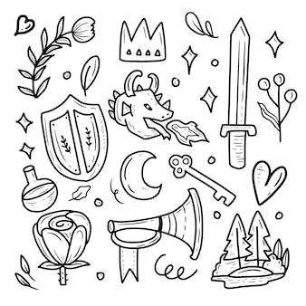 Bajkowy książę i smok ikona zestaw naklejek