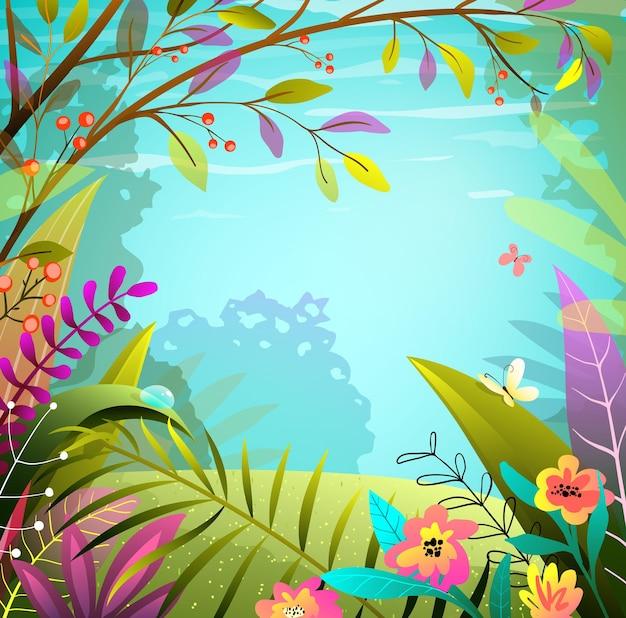 Bajkowy las lub tło dżungli, zielone i kolorowe bujne liście, drzewa i trawa.