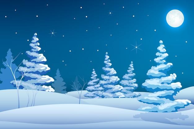Bajkowy nocny zimowy krajobraz szablon z ośnieżonymi drzewami, gwiazdami i księżycem