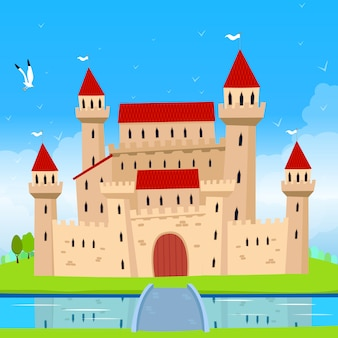 Bajkowy zamek i krajobraz