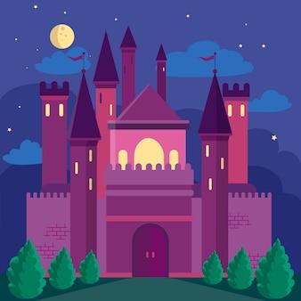 Bajkowy zamek o płaskiej konstrukcji