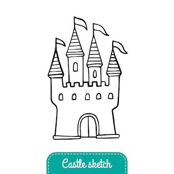 Bajkowy zamek w stylu doodle