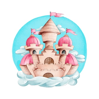 Bajkowy zamek w stylu przypominającym akwarele