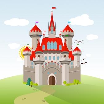 Bajkowy zamek. wektor wyobraźni dziecko ilustracja. płaski krajobraz z zielonymi drzewami, trawą, ścieżką, kamieniami i chmurami.