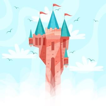 Bajkowy zamek z flagami i ptakami