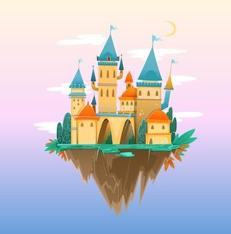 Bajkowy zamek z kreskówek, śliczny zamek z kreskówek.