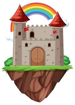 Bajkowy zamek z tęczą na białym tle