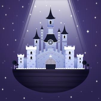 Bajkowy zamek z wieloma wieżami