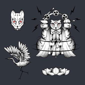 Bakeneko z perkusją raijin, element japońskiego kota potwora na ciemnym tle