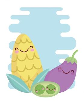 Bakłażan kukurydziany i groszek menu postać z kreskówek żywności słodkie