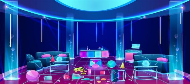 Bałagan w klubie nocnym po imprezie ilustracji