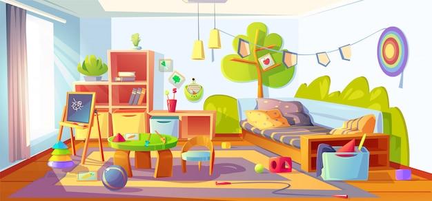 Bałagan w pokoju dziecięcym, brudne wnętrze sypialni dziecka