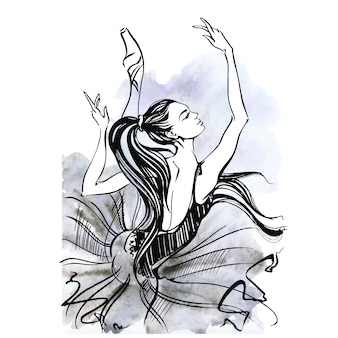 Balerina. balet. dancingowa dziewczyna na pointe butach. akwarela.