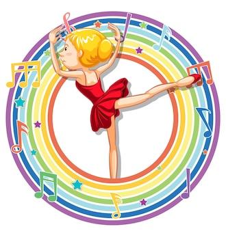 Balerina w tęczowej okrągłej ramce z symbolami melodii