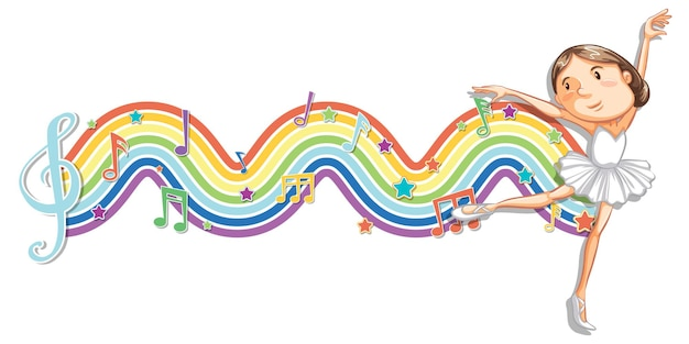 Balerina z symbolami melodii na fali tęczy