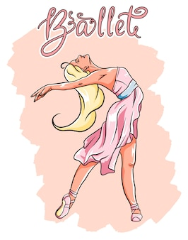 Baleriny w pointe w różowej sukience.